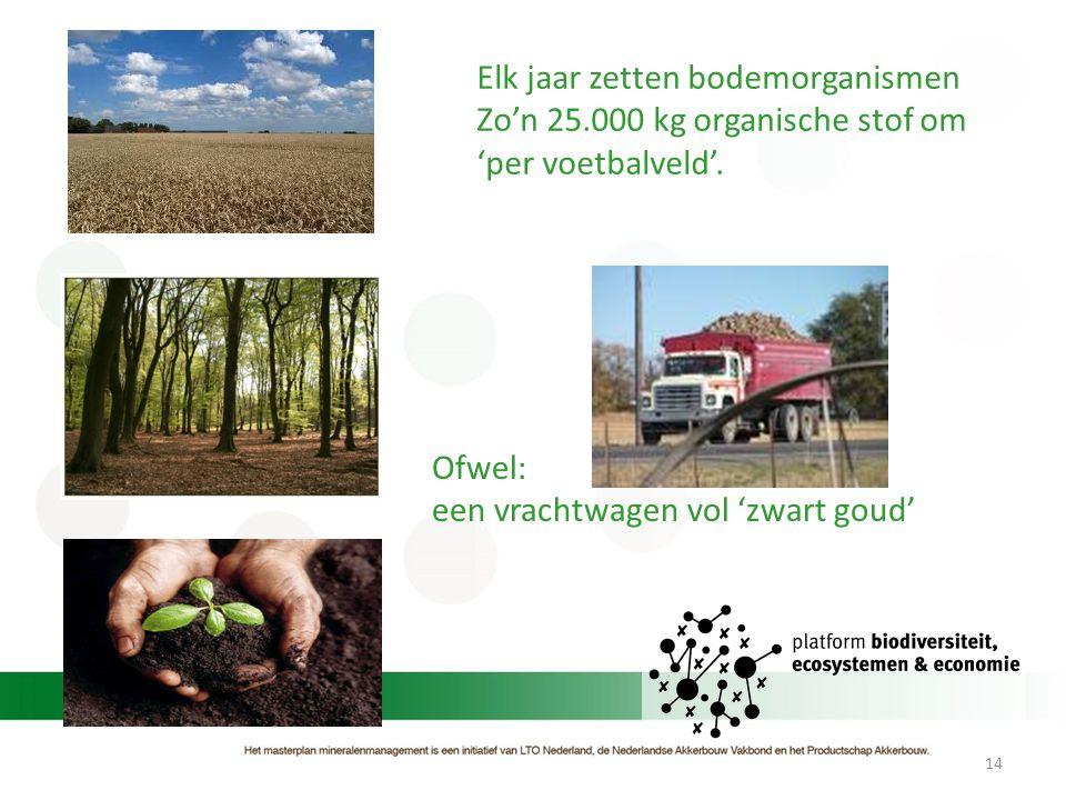 14 Elk jaar zetten bodemorganismen Zo'n 25.000 kg organische stof om 'per voetbalveld'. Ofwel: een vrachtwagen vol 'zwart goud'