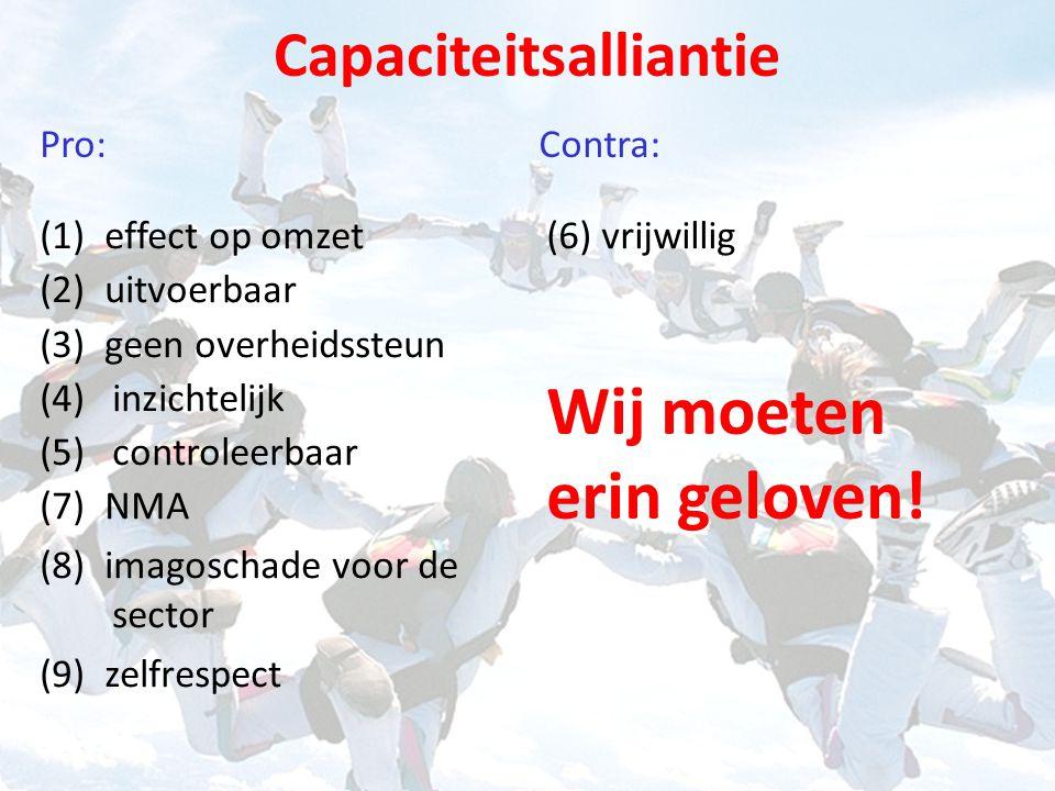 Capaciteitsalliantie (1) effect op omzet (2) uitvoerbaar (3) geen overheidssteun (4)inzichtelijk (5)controleerbaar (7) NMA (8) imagoschade voor de sector (9) zelfrespect (6) vrijwillig Pro: Contra: Wij moeten erin geloven!