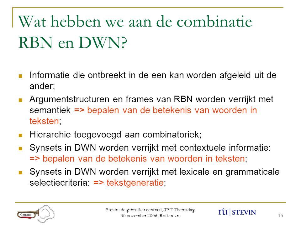 Stevin: de gebruiker centraal, TST Themadag, 30 november 2006, Rotterdam 15 Wat hebben we aan de combinatie RBN en DWN.