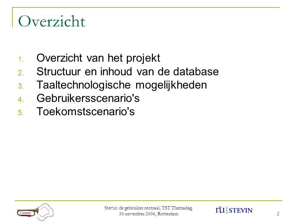 Stevin: de gebruiker centraal, TST Themadag, 30 november 2006, Rotterdam 2 Overzicht 1.