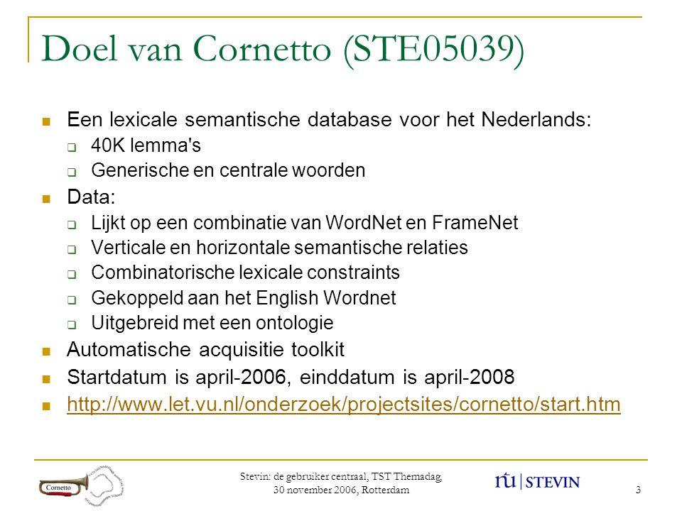 Stevin: de gebruiker centraal, TST Themadag, 30 november 2006, Rotterdam 3 Doel van Cornetto (STE05039)  Een lexicale semantische database voor het Nederlands:  40K lemma s  Generische en centrale woorden  Data:  Lijkt op een combinatie van WordNet en FrameNet  Verticale en horizontale semantische relaties  Combinatorische lexicale constraints  Gekoppeld aan het English Wordnet  Uitgebreid met een ontologie  Automatische acquisitie toolkit  Startdatum is april-2006, einddatum is april-2008  http://www.let.vu.nl/onderzoek/projectsites/cornetto/start.htm http://www.let.vu.nl/onderzoek/projectsites/cornetto/start.htm