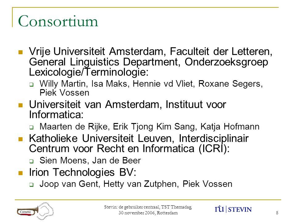 Stevin: de gebruiker centraal, TST Themadag, 30 november 2006, Rotterdam 19 Wat hebben we aan de ontologisering van Cornetto.
