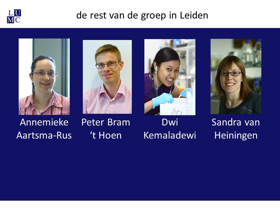 de rest van de groep in Leiden Annemieke Aartsma-Rus Peter Bram 't Hoen Dwi Kemaladewi Sandra van Heiningen