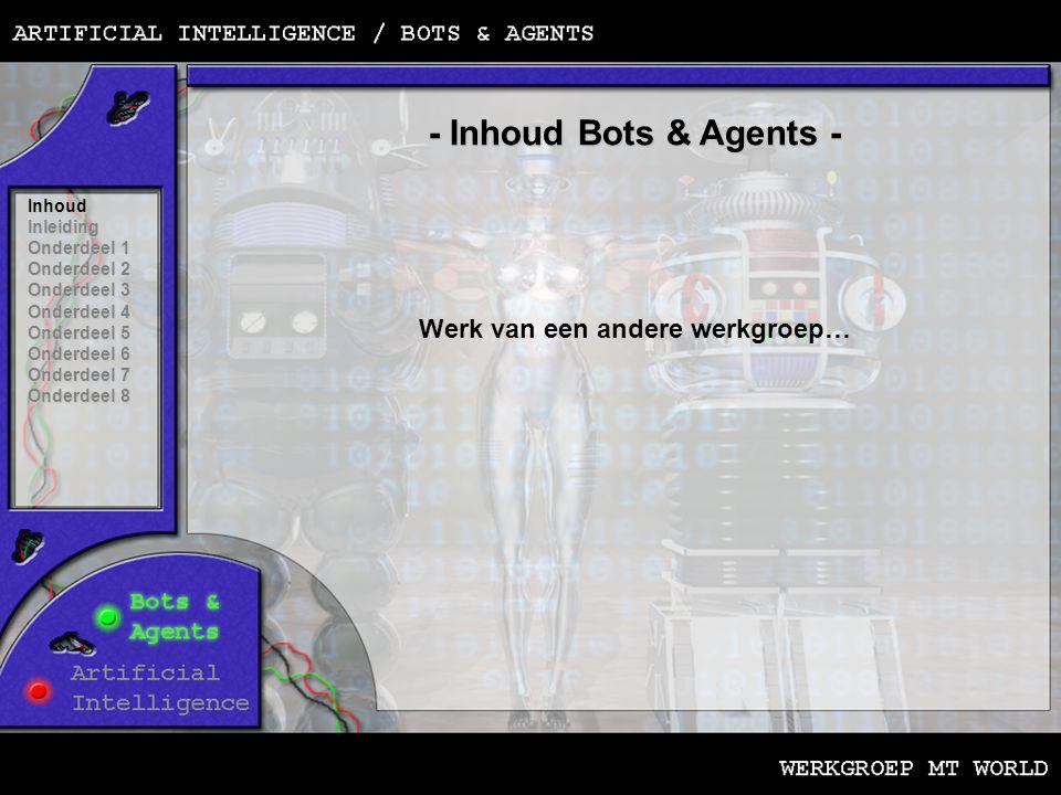 - Inhoud Bots & Agents - Werk van een andere werkgroep… Inhoud Inleiding Onderdeel 1 Onderdeel 2 Onderdeel 3 Onderdeel 4 Onderdeel 5 Onderdeel 6 Onderdeel 7 Onderdeel 8