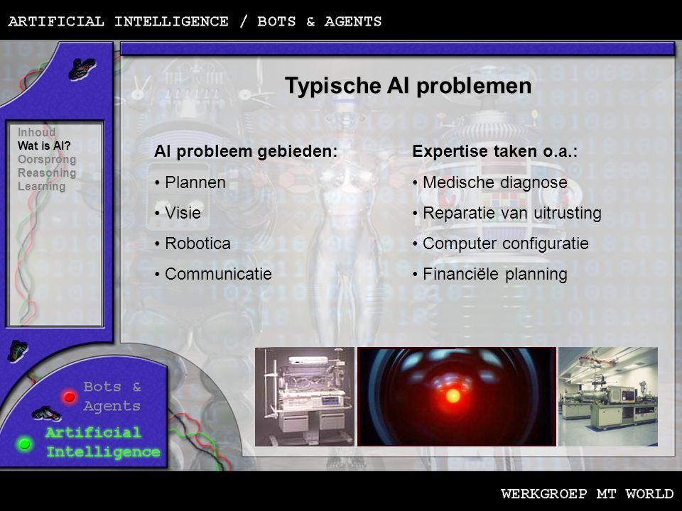 Typische AI problemen Inhoud Wat is AI? OorsprongReasoningLearning AI probleem gebieden: • Plannen • Visie • Robotica • Communicatie Expertise taken o