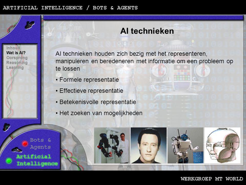 AI technieken Inhoud Wat is AI? Oorsprong ReasoningLearning AI technieken houden zich bezig met het representeren, manipuleren en beredeneren met info