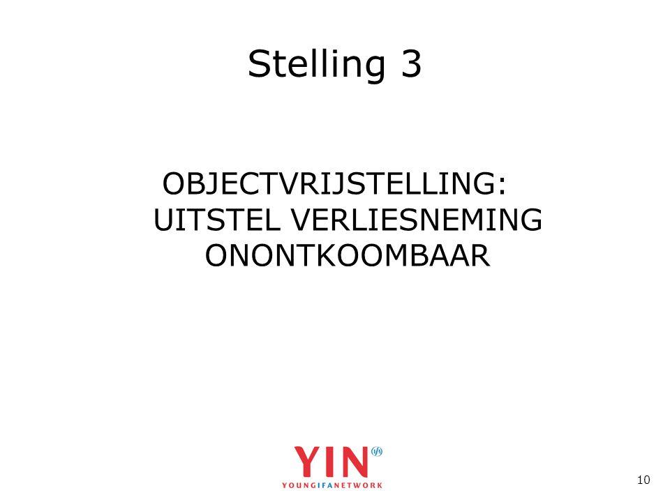 10 Stelling 3 OBJECTVRIJSTELLING: UITSTEL VERLIESNEMING ONONTKOOMBAAR