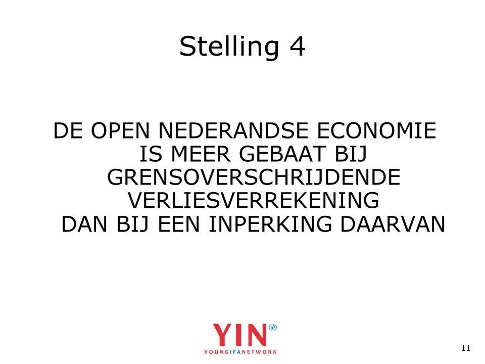 11 Stelling 4 DE OPEN NEDERANDSE ECONOMIE IS MEER GEBAAT BIJ GRENSOVERSCHRIJDENDE VERLIESVERREKENING DAN BIJ EEN INPERKING DAARVAN