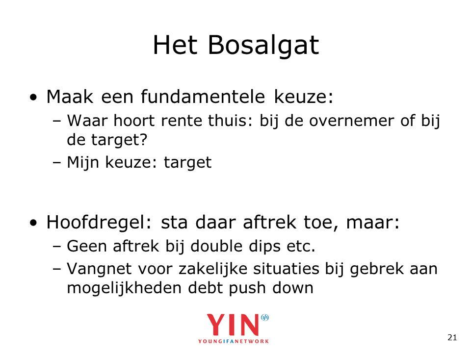 21 Het Bosalgat •Maak een fundamentele keuze: –Waar hoort rente thuis: bij de overnemer of bij de target.