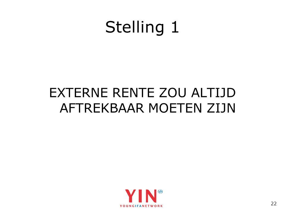 22 Stelling 1 EXTERNE RENTE ZOU ALTIJD AFTREKBAAR MOETEN ZIJN