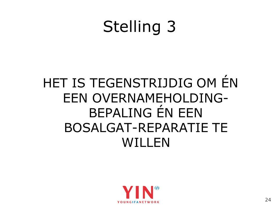 24 Stelling 3 HET IS TEGENSTRIJDIG OM ÉN EEN OVERNAMEHOLDING- BEPALING ÉN EEN BOSALGAT-REPARATIE TE WILLEN