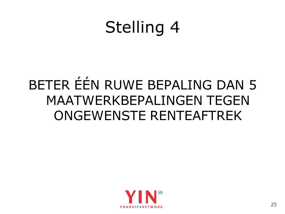 25 Stelling 4 BETER ÉÉN RUWE BEPALING DAN 5 MAATWERKBEPALINGEN TEGEN ONGEWENSTE RENTEAFTREK