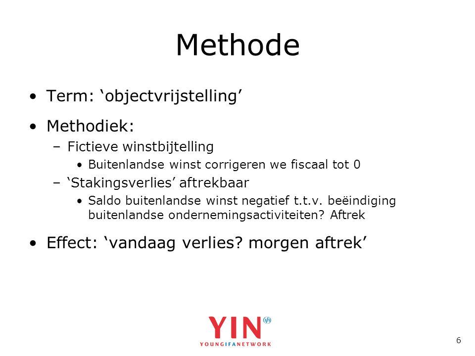 6 Methode •Term: 'objectvrijstelling' •Methodiek: –Fictieve winstbijtelling •Buitenlandse winst corrigeren we fiscaal tot 0 –'Stakingsverlies' aftrekbaar •Saldo buitenlandse winst negatief t.t.v.