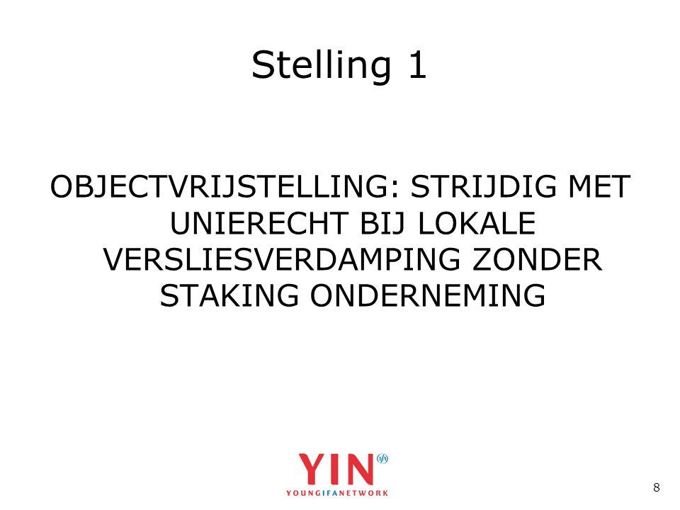 8 Stelling 1 OBJECTVRIJSTELLING: STRIJDIG MET UNIERECHT BIJ LOKALE VERSLIESVERDAMPING ZONDER STAKING ONDERNEMING