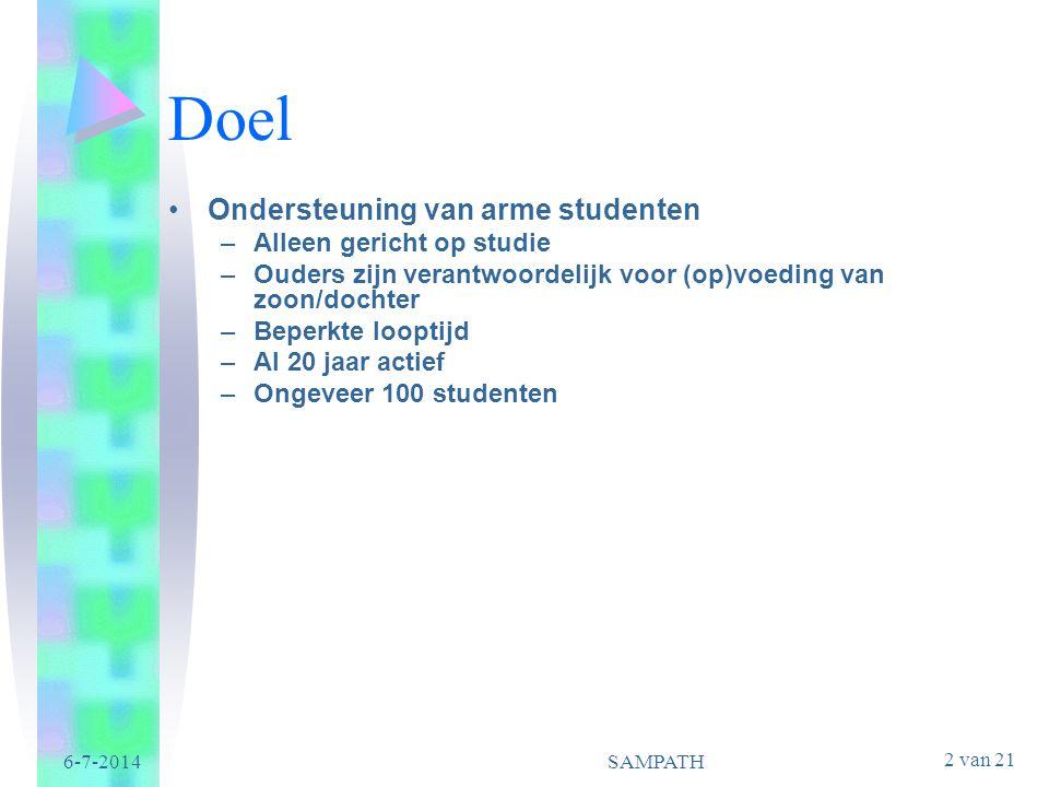 2 van 21 6-7-2014SAMPATH Doel •Ondersteuning van arme studenten –Alleen gericht op studie –Ouders zijn verantwoordelijk voor (op)voeding van zoon/doch