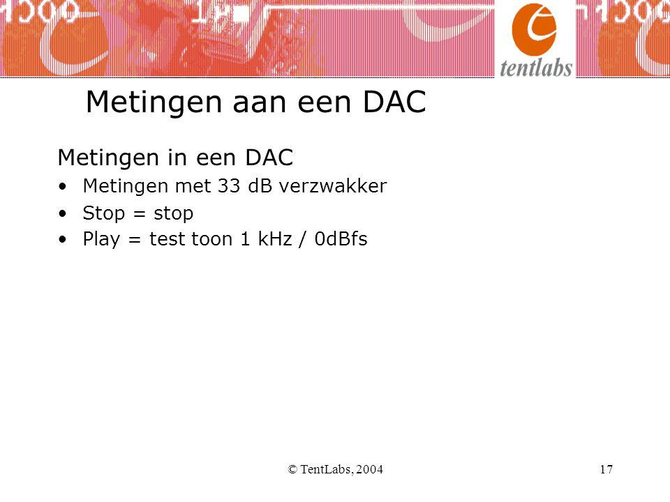 © TentLabs, 200417 Metingen in een DAC •Metingen met 33 dB verzwakker •Stop = stop •Play = test toon 1 kHz / 0dBfs Metingen aan een DAC