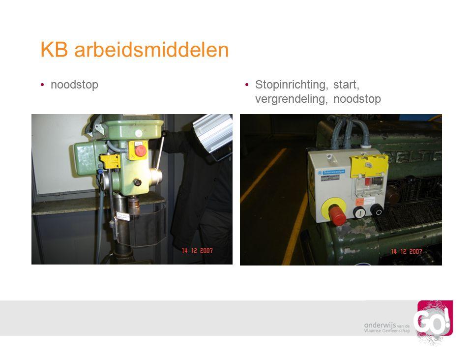 KB arbeidsmiddelen • noodstop • Stopinrichting, start, vergrendeling, noodstop
