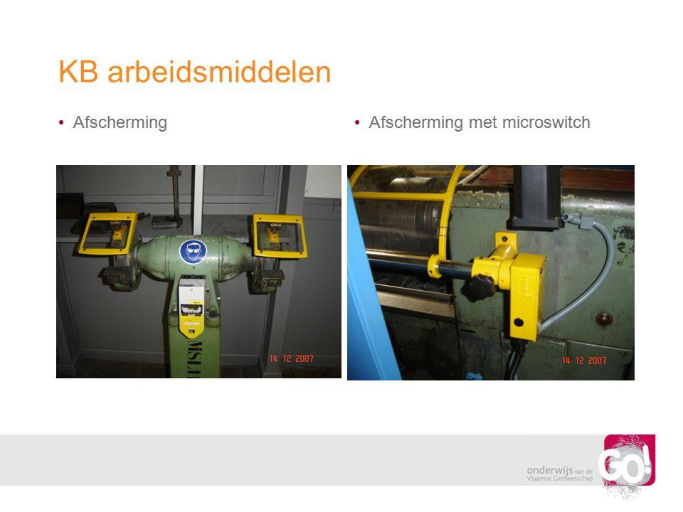 KB arbeidsmiddelen • Afscherming • Afscherming met microswitch