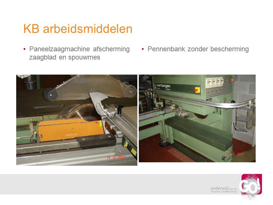 KB arbeidsmiddelen • Paneelzaagmachine afscherming zaagblad en spouwmes • Pennenbank zonder bescherming