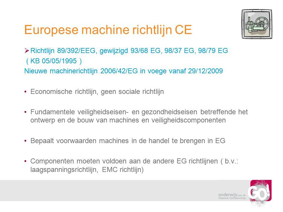 Europese machine richtlijn CE  Richtlijn 89/392/EEG, gewijzigd 93/68 EG, 98/37 EG, 98/79 EG ( KB 05/05/1995 ) Nieuwe machinerichtlijn 2006/42/EG in v