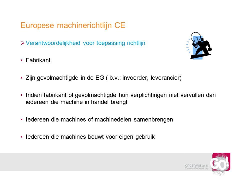 Europese machinerichtlijn CE  Verantwoordelijkheid voor toepassing richtlijn •Fabrikant •Zijn gevolmachtigde in de EG ( b.v.: invoerder, leverancier)