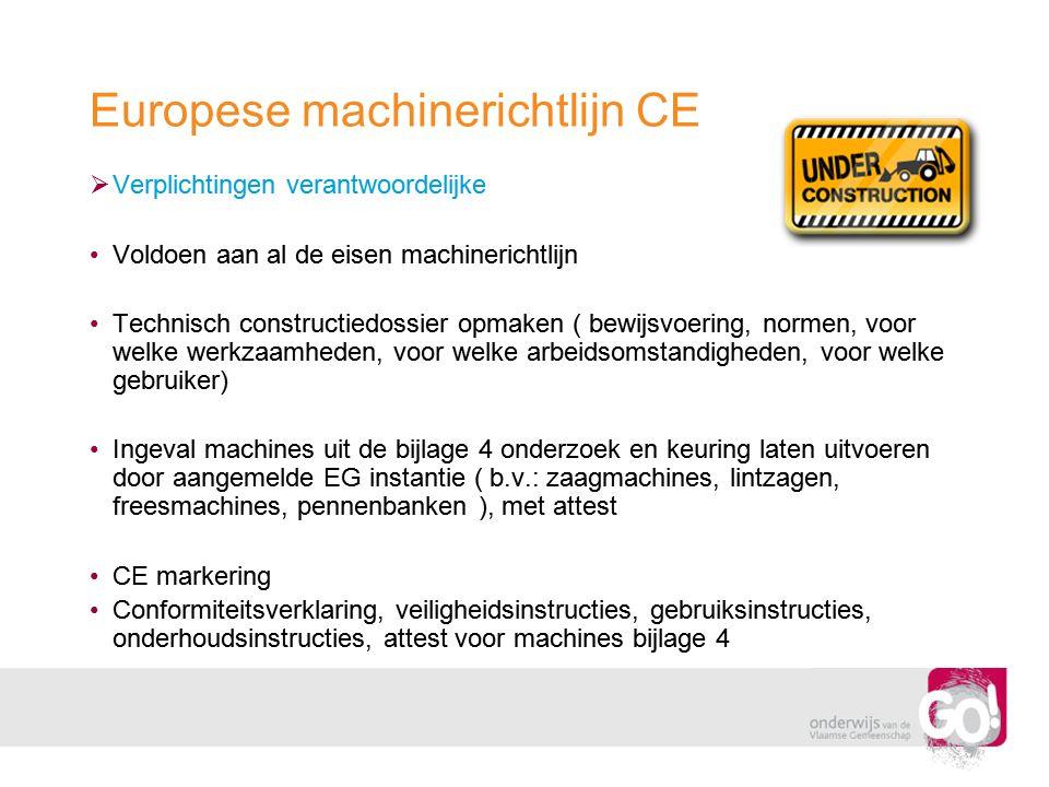 Europese machinerichtlijn CE  Verplichtingen verantwoordelijke •Voldoen aan al de eisen machinerichtlijn •Technisch constructiedossier opmaken ( bewi