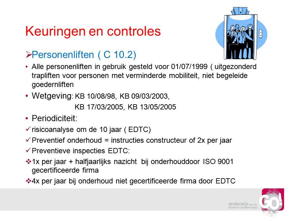 Keuringen en controles  Personenliften ( C 10.2) •Alle personenliften in gebruik gesteld voor 01/07/1999 ( uitgezonderd trapliften voor personen met
