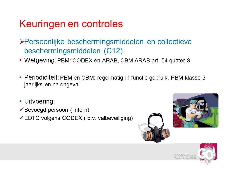 Keuringen en controles  Persoonlijke beschermingsmiddelen en collectieve beschermingsmiddelen (C12) •Wetgeving: PBM: CODEX en ARAB, CBM ARAB art. 54