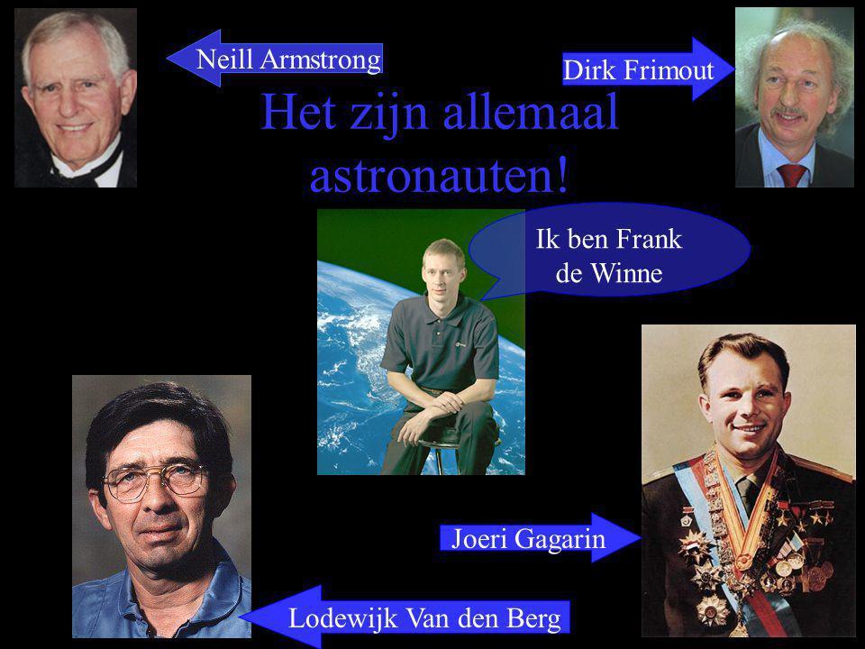 Het zijn allemaal astronauten! Ik ben Frank de Winne Neill Armstrong Dirk Frimout Lodewijk Van den Berg Joeri Gagarin