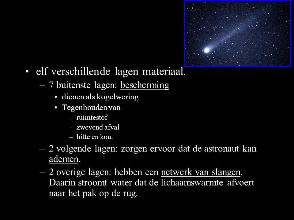 •elf verschillende lagen materiaal. –7 buitenste lagen: bescherming •dienen als kogelwering •Tegenhouden van –ruimtestof –zwevend afval –hitte en kou.