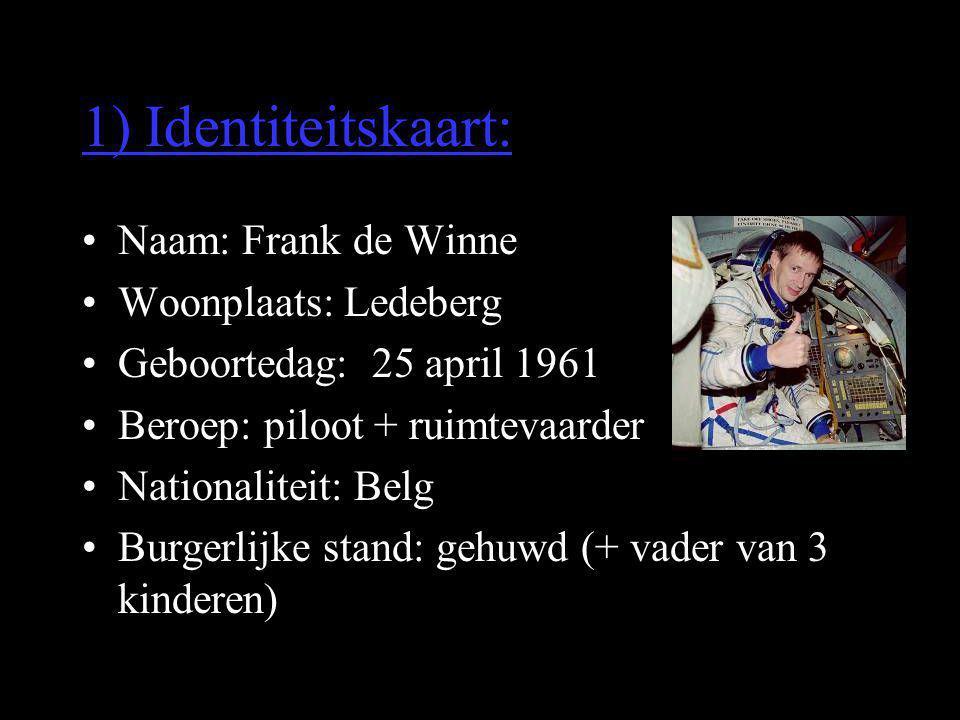 1) Identiteitskaart: •Naam: Frank de Winne •Woonplaats: Ledeberg •Geboortedag: 25 april 1961 •Beroep: piloot + ruimtevaarder •Nationaliteit: Belg •Bur
