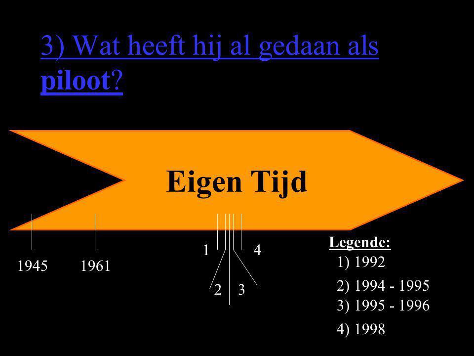 3) Wat heeft hij al gedaan als piloot? Eigen Tijd 1 2) 1994 - 1995 32 4 3) 1995 - 1996 1) 1992 4) 1998 Legende: 19451961