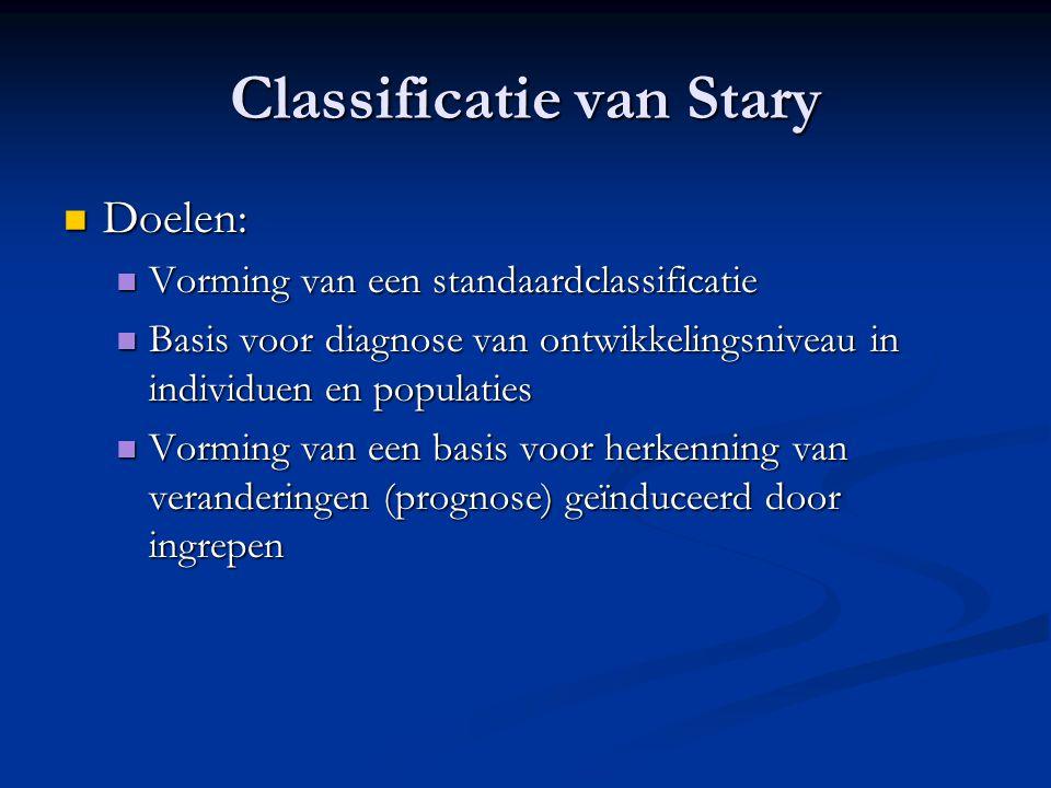 Classificatie van Stary  Doelen:  Vorming van een standaardclassificatie  Basis voor diagnose van ontwikkelingsniveau in individuen en populaties 