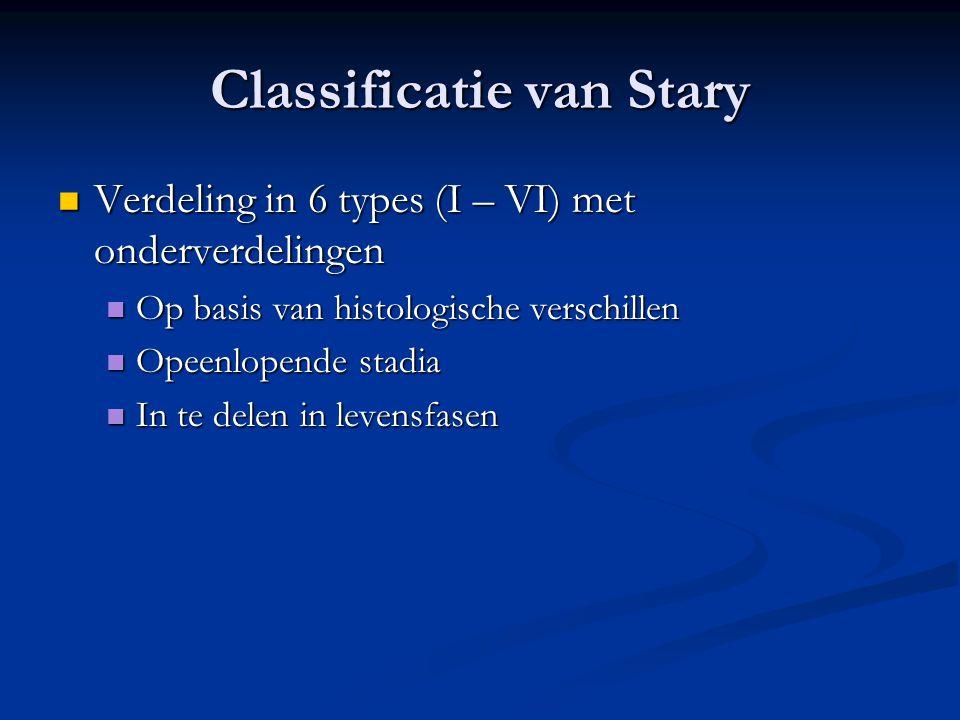 Classificatie van Stary  Verdeling in 6 types (I – VI) met onderverdelingen  Op basis van histologische verschillen  Opeenlopende stadia  In te de