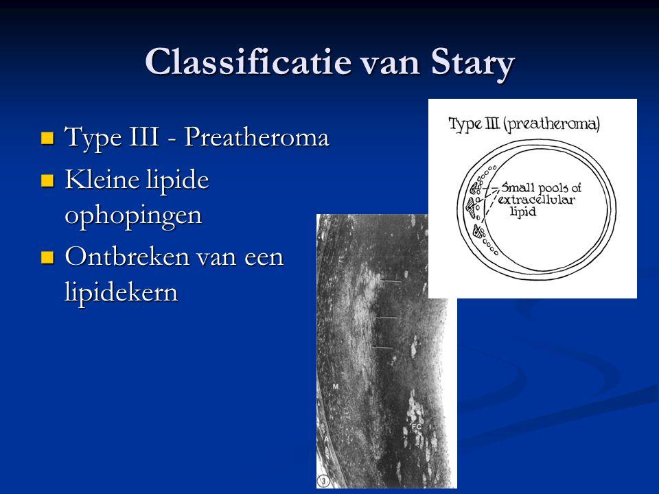  Type III - Preatheroma  Kleine lipide ophopingen  Ontbreken van een lipidekern