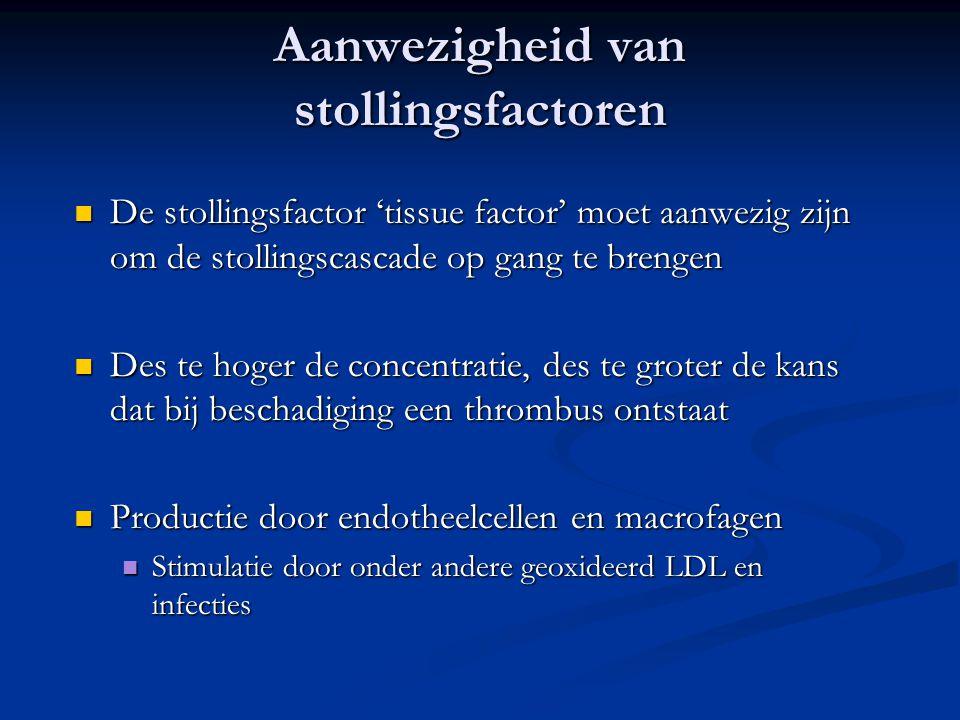 Aanwezigheid van stollingsfactoren  De stollingsfactor 'tissue factor' moet aanwezig zijn om de stollingscascade op gang te brengen  Des te hoger de
