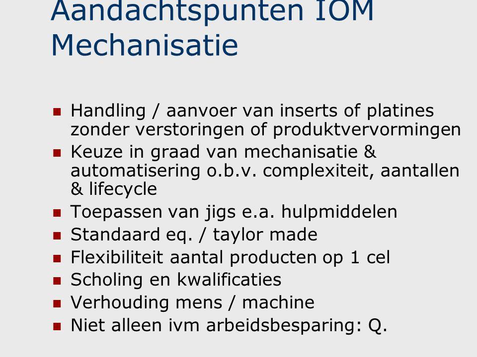 Aandachtspunten IOM Mechanisatie  Handling / aanvoer van inserts of platines zonder verstoringen of produktvervormingen  Keuze in graad van mechanis