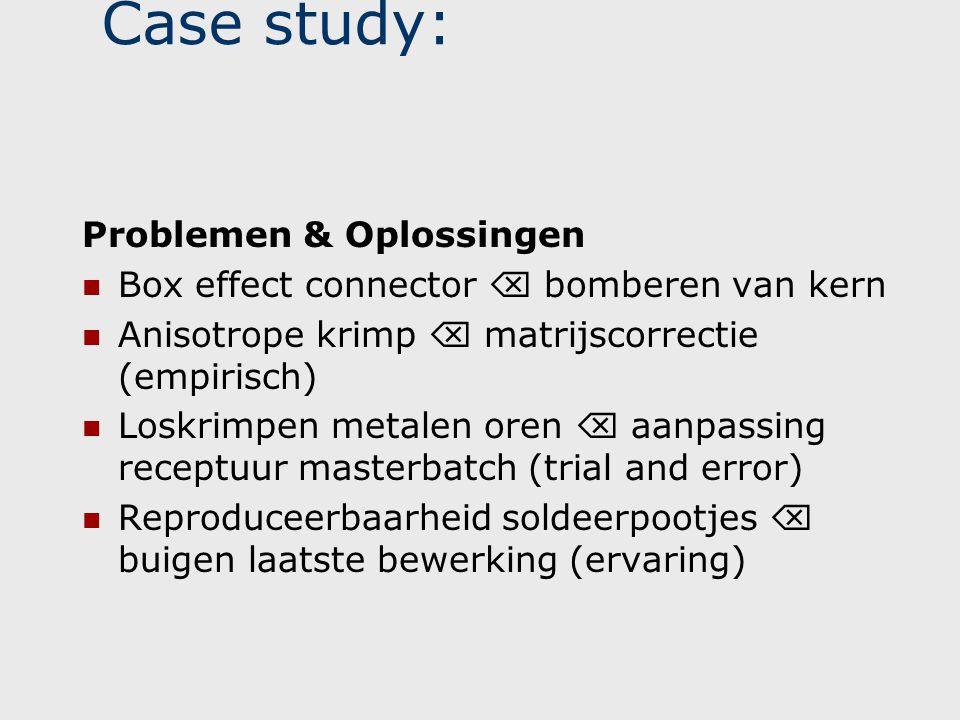 Case study: Problemen & Oplossingen  Box effect connector  bomberen van kern  Anisotrope krimp  matrijscorrectie (empirisch)  Loskrimpen metalen