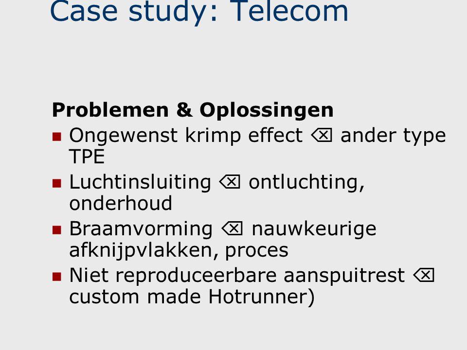 Case study: Telecom Problemen & Oplossingen  Ongewenst krimp effect  ander type TPE  Luchtinsluiting  ontluchting, onderhoud  Braamvorming  nauw