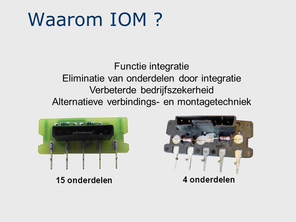 Waarom IOM ? 15 onderdelen 4 onderdelen Functie integratie Eliminatie van onderdelen door integratie Verbeterde bedrijfszekerheid Alternatieve verbind