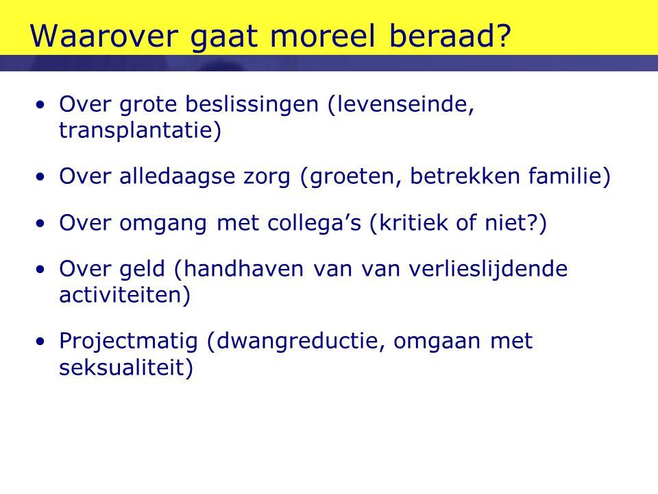 Opbouw I.Reflectie en handelen II.Moreel beraad als methodische reflectie III.Een voorbeeld uit de praktijk IV.Reflectie op moreel beraad als proces V.als proces