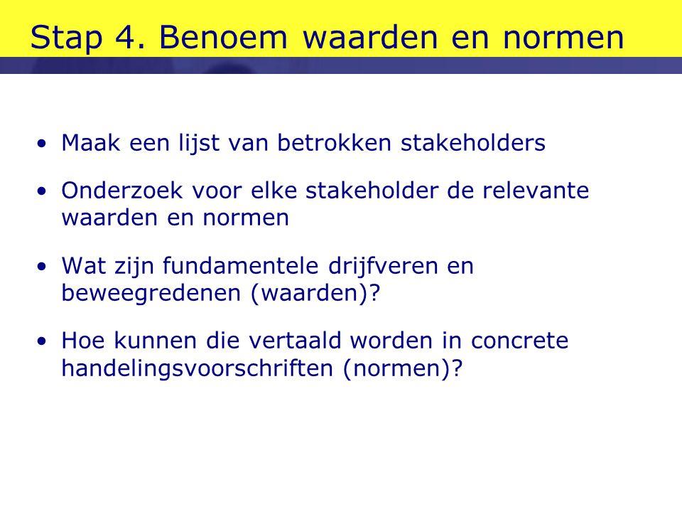 Stap 4. Benoem waarden en normen •Maak een lijst van betrokken stakeholders •Onderzoek voor elke stakeholder de relevante waarden en normen •Wat zijn