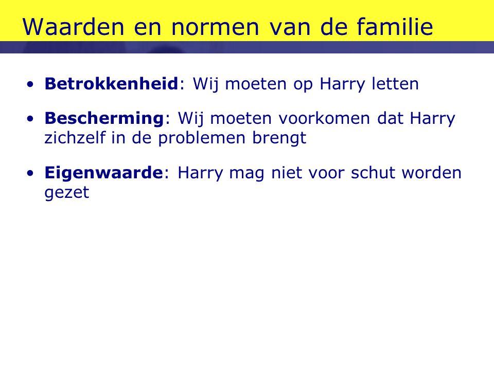 Waarden en normen van de familie •Betrokkenheid: Wij moeten op Harry letten •Bescherming: Wij moeten voorkomen dat Harry zichzelf in de problemen bren
