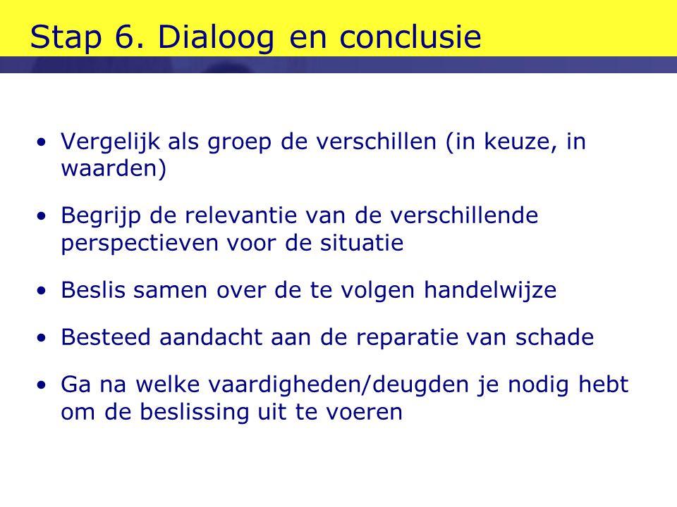Stap 6. Dialoog en conclusie •Vergelijk als groep de verschillen (in keuze, in waarden) •Begrijp de relevantie van de verschillende perspectieven voor