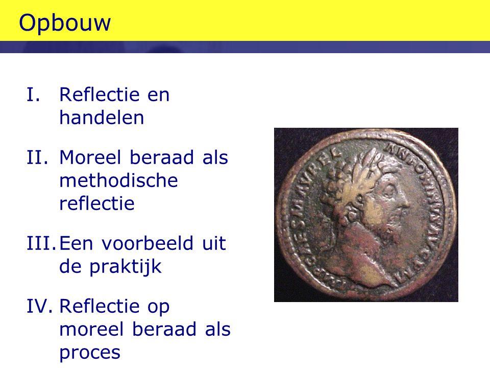 Opbouw I.Reflectie en handelen II.Moreel beraad als methodische reflectie III.Een voorbeeld uit de praktijk IV.Reflectie op moreel beraad als proces