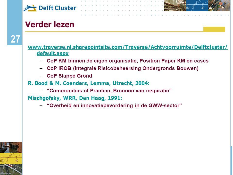 27 Verder lezen www.traverse.nl.sharepointsite.com/Traverse/Achtvoorruimte/Delftcluster/ default.aspx –CoP KM binnen de eigen organisatie, Position Pa