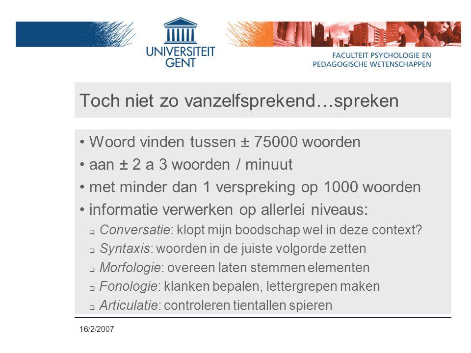 16/2/2007 Zelf-monitoring van spraak....dan ga je naar links^...