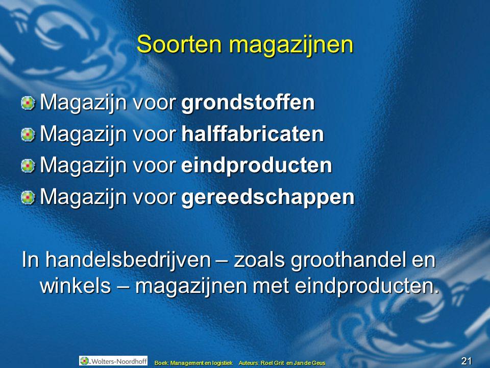 21 Boek: Management en logistiek Auteurs: Roel Grit en Jan de Geus Soorten magazijnen Magazijn voor grondstoffen Magazijn voor halffabricaten Magazijn