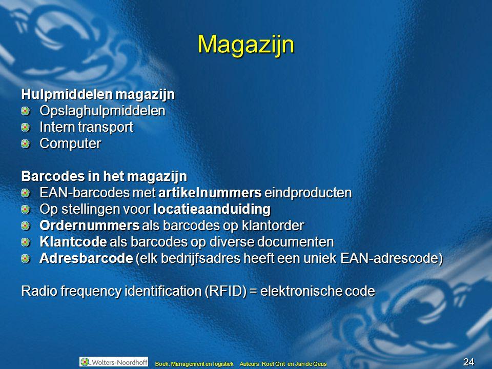 24 Boek: Management en logistiek Auteurs: Roel Grit en Jan de Geus Magazijn Hulpmiddelen magazijn Opslaghulpmiddelen Intern transport Computer Barcode