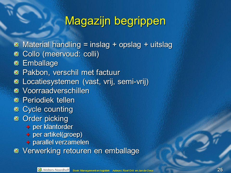 25 Boek: Management en logistiek Auteurs: Roel Grit en Jan de Geus Magazijn begrippen Material handling = inslag + opslag + uitslag Collo (meervoud: c